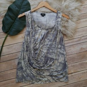 Deletta Watercolor Print Sleeveless Top - Size Med